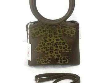 BIRIBAG shoulder bag by BIRIKINI Leopard leather made in Italy