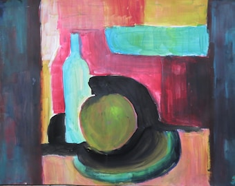 Acrylic painting, Still life, acrylic on paper, wall art, original painting, bottle, apple, large painting, home decor, art