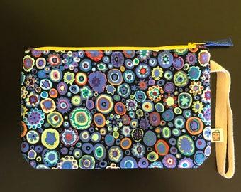 "Handmade small zipper purse for notions and accessories 8.5"" x 5.5""  *KFC colourplash*"