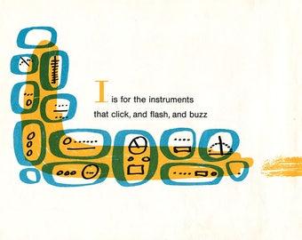 1960's Children's Alphabet Illustration Print - I is for Instruments
