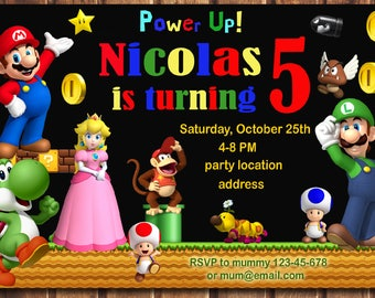 SALE Super Mario Invitation, Super Mario Birthday Invitation, Mario Birthday Invitation, Super Mario Bros Invitation -digital file a