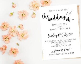 Printable Invitation PDF JPG Custom Personalised Any Occasion Wedding Birthday Party Anniversary Email Invite - Simple Elegant Caligraphy