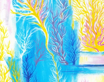 Corals abstract acrylic painting