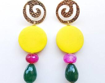 Boho earrings gemstone earrings handcrafted earrings, yellow, long earrings, gemstone jewelry, big earrings, summer