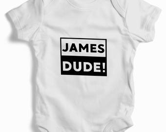 Personalised dude White Baby Grow (bodysuit)