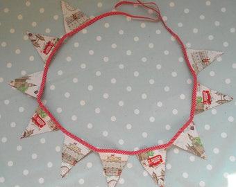 London themed bunting, handmade from Cath Kidston's London Scene fabric