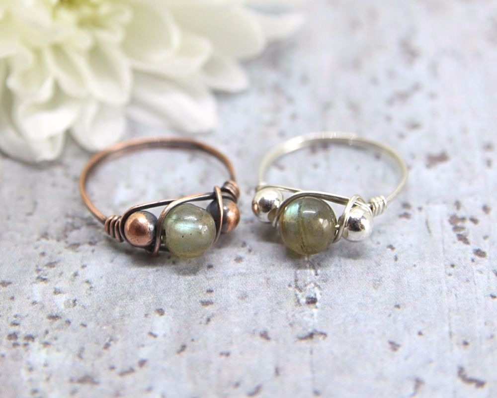 Labradorite Ring, Simple Wire Wrapped Ring, Copper or Silver ...