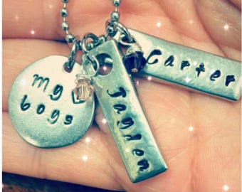 """Handstamped """"My Boys"""" mom necklace with personalized handstamped tags and birthstone gems"""
