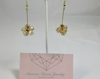 The Mariah- Champagne and Gold Dangle Earrings