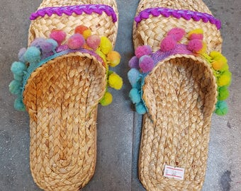 Beach Sandals, Pom Pom Sandals, Straw Sandals, Beach Shoes, Flip Flops