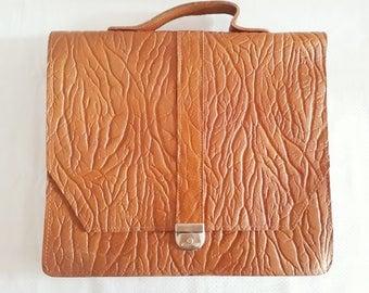 VINTAGE Briefcase Tan Leather Attache Case Laptop Bag School Bag