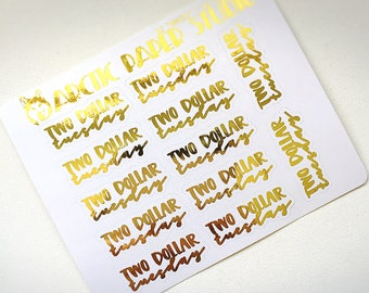 2 DOLLAR TUESDAY - FOILED Sampler Event Icons Planner Stickers