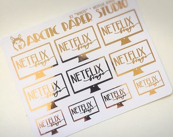 Netflix Binge - Functional Icons - FOILED Sampler Event Icons Planner Stickers