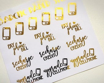 Cellphone - Functional Icons - FOILED Sampler Event Icons Planner Stickers