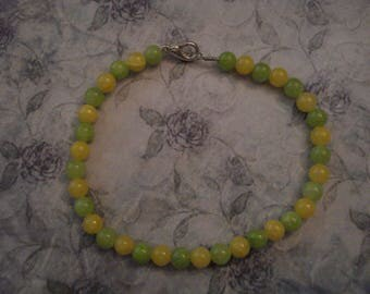 Chartreuse and Yellow Mountain Jade Bead Bracelet