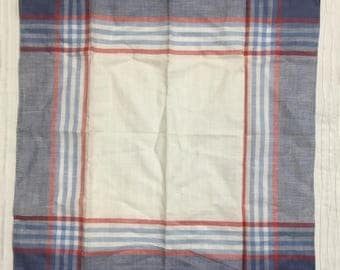 LINEN-COTTON BLEND Blue & Red Plaid Handkerchief