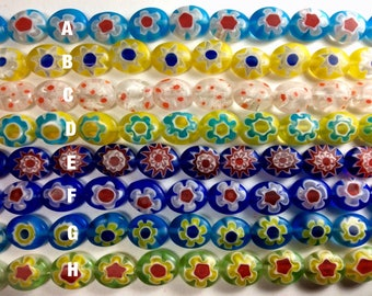 "Millefiori (Thousand Flowers) Beads, Shape:Oval. Four Size Options(See variations). 15"" strand, 1mm hole, one strand"