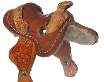 Miniature Dollhouse Western Leather Saddle. 1:12 Scale