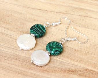 Green Earrings, Malachite Coin Earrings, Gemstone Coin Earrings, Green and White Earrings, Malachite and Pearl Earrings, Pearl Coin Earrings