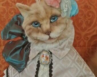 "Anthropomorphic Art Victorian Dressed Cat ""Danielle"" OOAK ***ALREADY ADOPTED ! ***"
