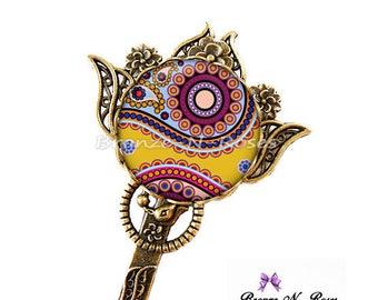 Bookmarks * indian paisley * costume patterns-yellow cabochon jewel ethnic India