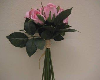 """PINK Hand Tied Rose Bud 11"""" Bouquet Artificial Silk Flower 12-5606PK"""