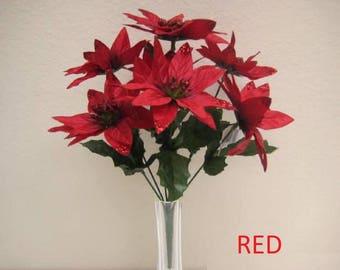 "4 Bushes Christmas Poinsettia 7 Artificial Silk Flower 12"" Bouquet 2209"