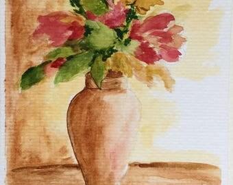 Flowers in Vase/Watercolor Greeting Card/Floral art/Flowers watercolor/5 x 7 card/Card and envelope/Floral greeting card/Watercolor card