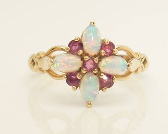Adorable 9Ct Yellow Gold Opal & Ruby Flower Head Ring, Size M 1/2