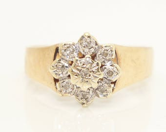 Vintage 1979 9Ct Gold Diamond Flower Head Cluster Ring, Size M 1/2