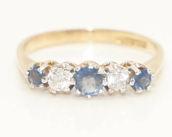 Vintage 9Ct Gold Sapphire & CZ Five Stone Eternity Ring, Size O