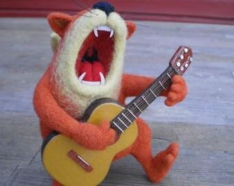 Singing Cat Toy cat Felt toy Felt cat Cat with guitar