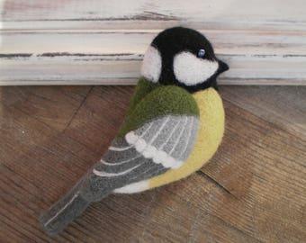 Brooch tit Woolen brooch Felt brooch Brooch bird Bird Bird decoration