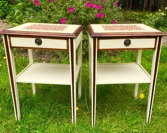 A Pair of Elegant Hand-Painted Side Tables