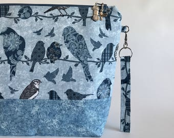 Blue Birds - medium sized project bag for Knitting/Crochet