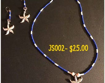 Starfish Necklace and Earrings Jewelry Set