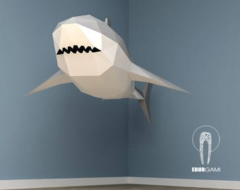 XXL Great White Shark Papercraft, 3D Papercraft - Build Your Own Low Poly Paper Sculpture  PDF Download DIY gift, Wall Decor home - Eburgami