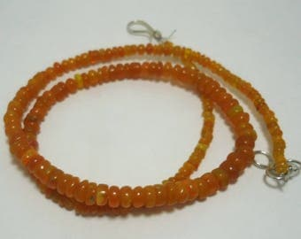 20 % OFF Sale Natural Ethiopian Fire Opal Beutiful Orange Colour Plain Rondelle Beads Necklace  16' Inches 42.00 Cts. Size 2 to 5 MM MGJ 153