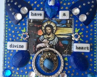Have A Divine Heart/Unique wall hanging, Religious crafts, Spiritual decor, Montana artist, Handmade, Contemporary , Upcycled item, faith