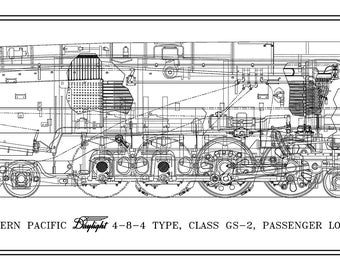 "Southern Pacific ""Daylight GS-2"" 4-8-4 Type Locomotive Drawing - 3 Views"