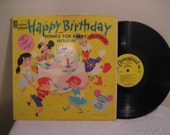 happy birthday and songs for every holiday, a disneyland record, lp