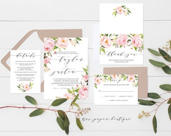 Pink Peony Invitation Suite Peony Invitation Template Floral Wedding invitation set Boho Chic Wedding Invitation Suite Editable PDF #ASPM004
