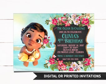 Baby Moana Invitation, Moana Invitation, Moana Birthday Invitation, Moana Party, Princess Moana, Moana, Moana Birthday, Girl Invitation, M14