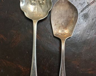 Pair of 1940's Antique Collectable Nickel Spoons