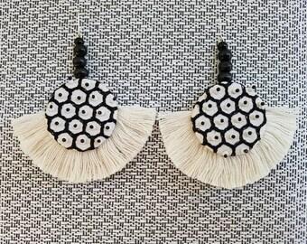 Honeycomb hand beaded fringe fan earrings.