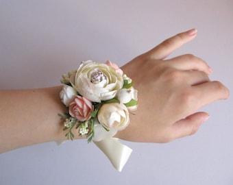 Flower bracelet forbride Beige ivory peach floral wrist corsage with ribbon  Bridesmaid flower girl corsage Wedding bridal bracelet