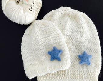 Mom Baby Mother's hat Set white. Stellina in various colours, the mother's beret can be created with or without a starlet (felt).