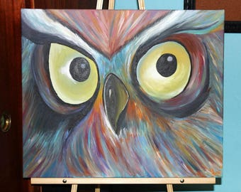 Vibrant owl wall art colorful feather