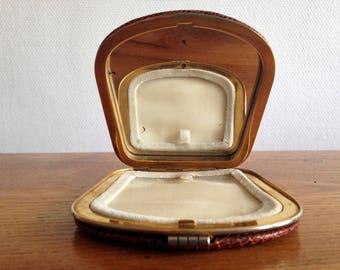 Mirror - compact - genuine snake - vintage