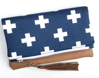 Zoe Clutch - folded clutch - Blue and White crosses - faux leather clutch - free shipping